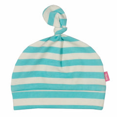 Stripy Aqua Organic Cotton Hat - Angelic Threads