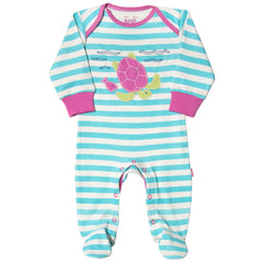 Stripy Aqua-Turtle Organic Cotton Sleepsuit - Angelic Threads