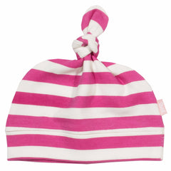 Stripy Raspberry Organic Cotton Hat - Angelic Threads