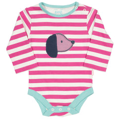 Sausage Dog Raspberry Organic Cotton Long Sleeve Bodysuit - Angelic Threads