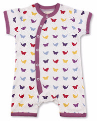 Raspberry Butterfly Short Sleeve Organic Cotton Romper - Angelic Threads