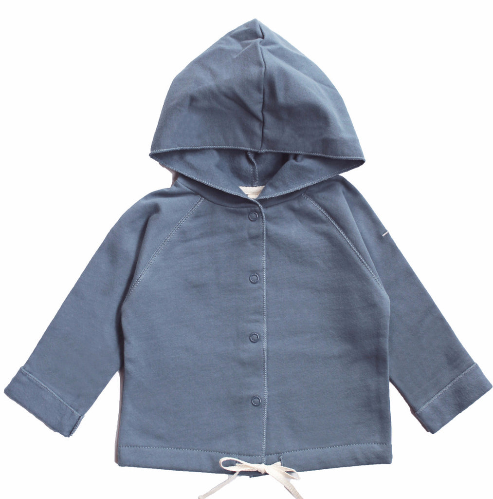 Hooded Organic Cotton Italian Fleece Cardigan Sweater - Angelic Threads