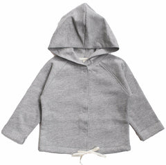 Hooded Grey Melange Organic Italian Fleece Cardigan Sweater