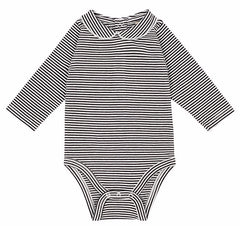 Black + White Long Sleeve With Collar Organic Bodysuit