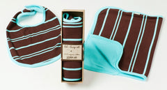 Turquoise-Chocolate Organic Bib and Burpcloth