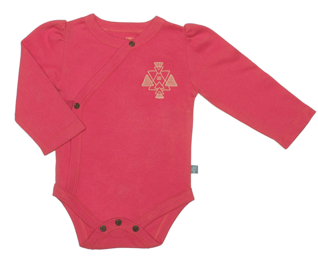 Rose Red Organic Long Sleeve Bodysuit - Angelic Threads