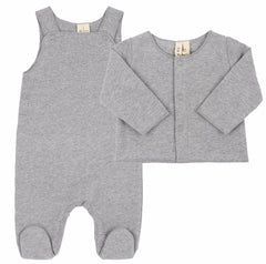 Newborn Grey Melange Sleeveless Organic Suit & Cardigan Sweater
