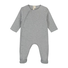 Newborn Grey Melange Organic Italian Fleece Suit with Snaps