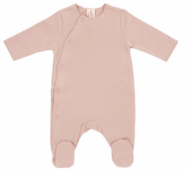 Newborn Vintage Pink Organic Italian Fleece Suit with Snaps - Angelic Threads