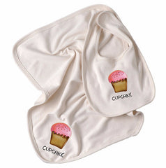 Cupcake Organic Cotton Bib & Burpcloth - Angelic Threads