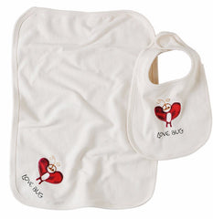 Love Bug Organic Cotton Bib & Burpcloth