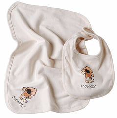 Monkey Organic Cotton Bib & Burpcloth - Angelic Threads