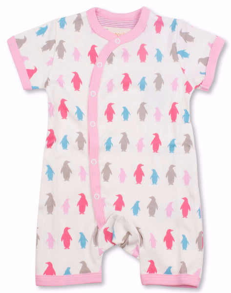 Penguins Organic Cotton Short Sleeve Romper/Multi Pink