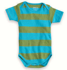 Short Sleeve Turquoise-Green Organic Cotton Bodysuit