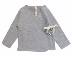 Long Sleeve Organic Cotton Italian Fleece Crossover Top - Angelic Threads