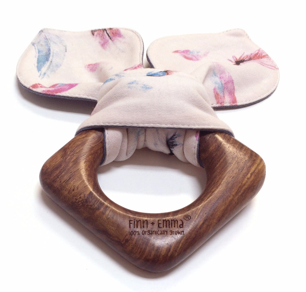 Feather Pink Organic Teething Ear - Angelic Threads