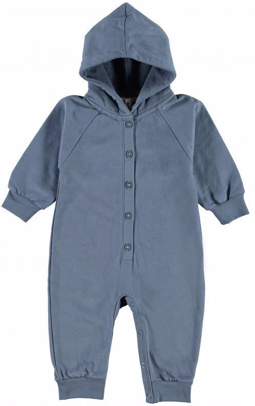 Hooded Denim Organic Italian Fleece Jumpsuit - Angelic Threads