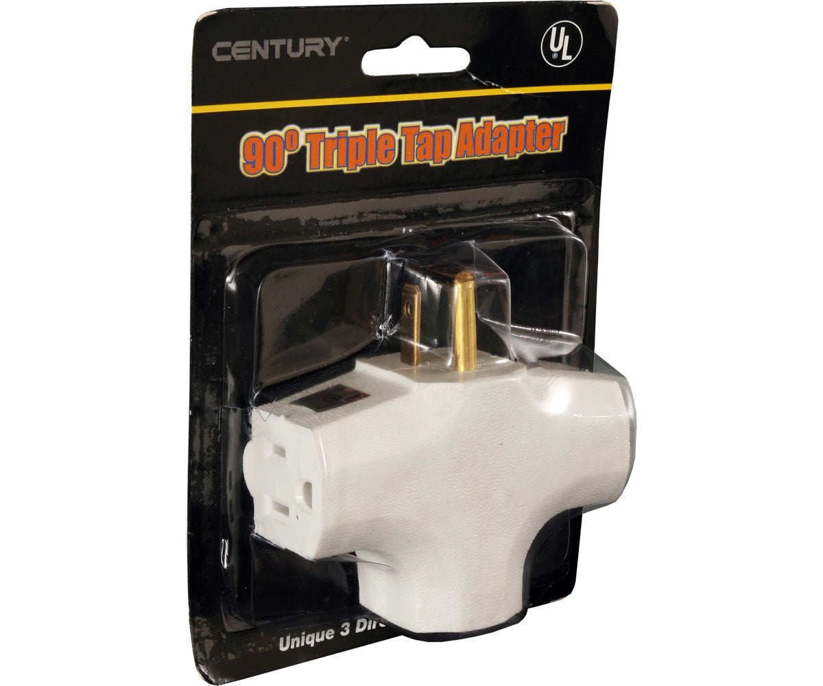 90 Degree Tri Tap Adapter, White