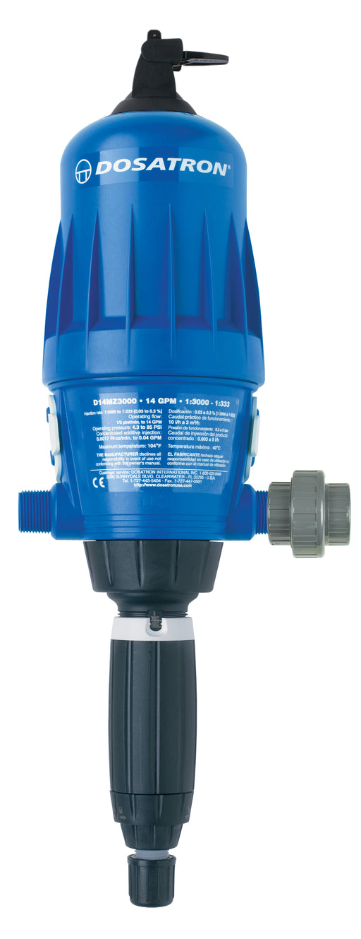 D14MZ3000VFBPHY -  1.25 to 11mL per gal. (1:3000 to 1:333) - Dosatron Water Powered Nutrient Doser - 14gpm