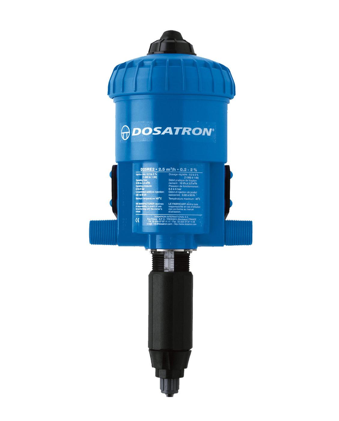 D25RE2 - 7.5 to 75mL per gal. (1:500 to 1:50) - Dosatron Water Powered Nutrient Doser - 11gpm