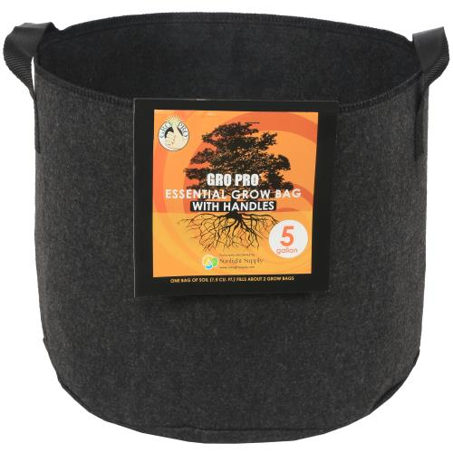 Gro Pro® Essential Round Fabric Pots with Handles - Black
