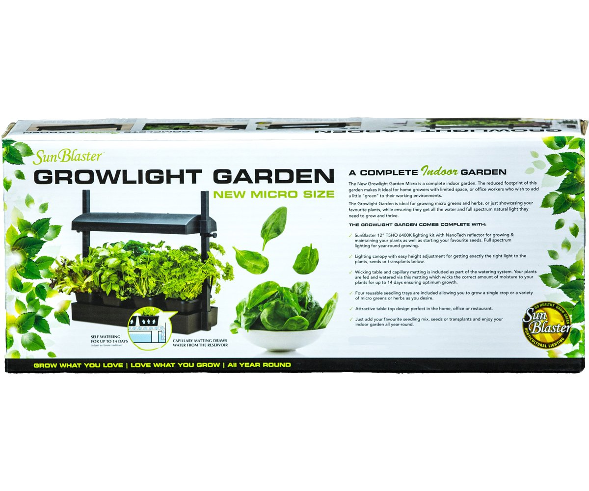Sunblaster Micro LED Grow Light Garden, Black