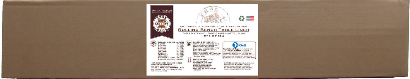"True Liberty Rolling Bench Table Liner 80"" x 500' Roll, White"