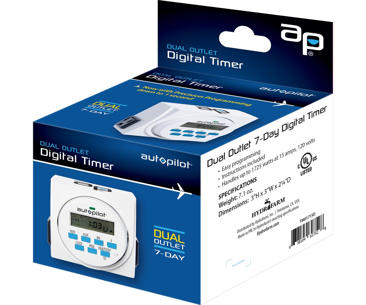 Autopilot Dual Outlet 7-Day Grounded Digital Programmable Timer, 1725W, 15A, 1 Second On/Off