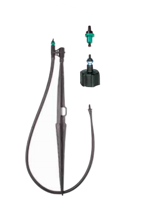 "DIG Flow Regulated Mini Compact micro sprinklers with insect proof complete assembly with press fit stake, 24"" micro tubing and barb-MINI SPRINKLERS, MICRO SPRAYERS AND MICRO SPRINKLERS IN UPRIGHT POSITION"