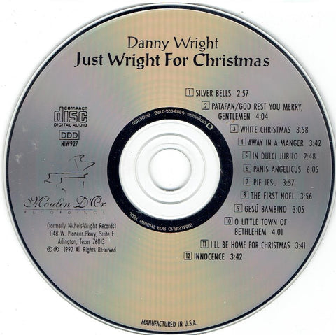 "DANNY WRIGHT ""Just Wright for Christmas"" CD"