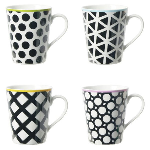 CONTENTO Coffret de 4 mugs 33 cl - Cool Black