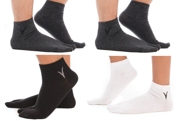 4 Pairs - White, Black, 2 Gunmetal Grey Ankle Casual V-Toe Flip-Flop Tabi Big Toe Socks