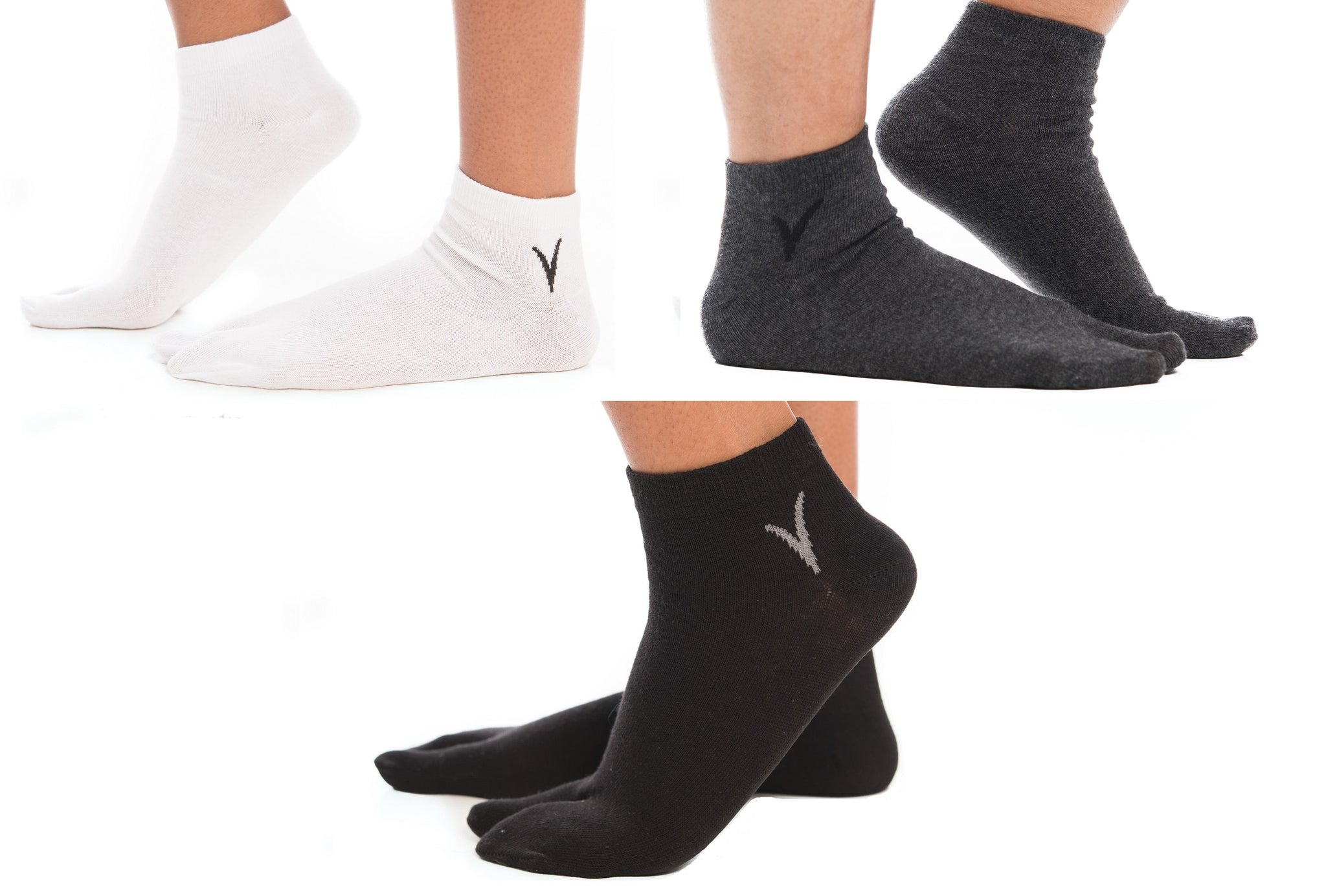 3 Pairs - V-Toe Flip Flop Tabi Big Toe Socks - White, Gunmetal Grey, Black Ankle