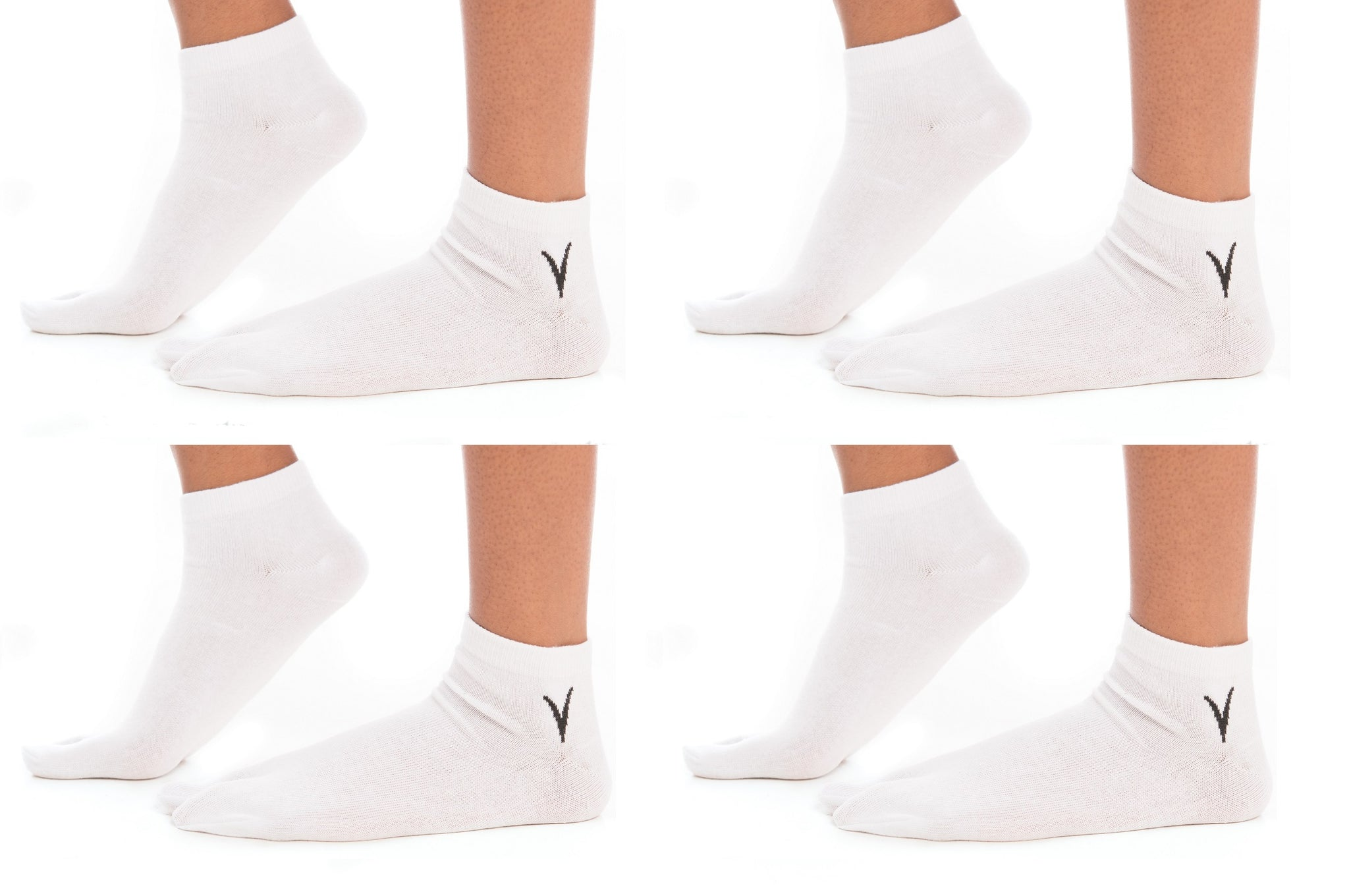 4 Pairs White Ankle Casual V-Toe Flip-Flop Tabi Big Toe Socks