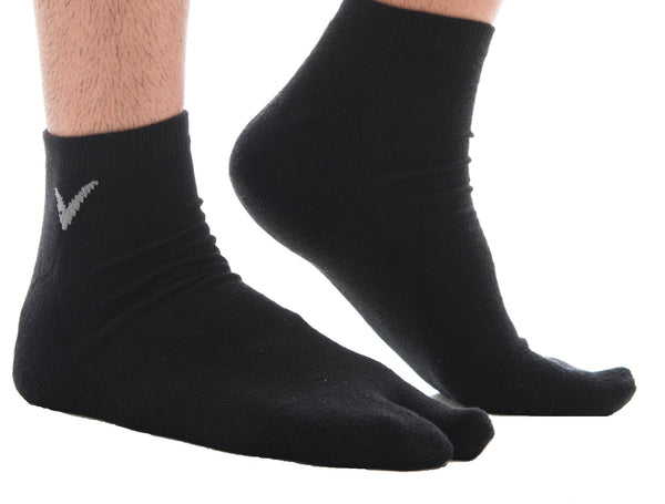 Athletic Black Solid V-Toe Flip Flop Tabi Big Toe Ankle Socks Comfortable Stylish For Men And Women