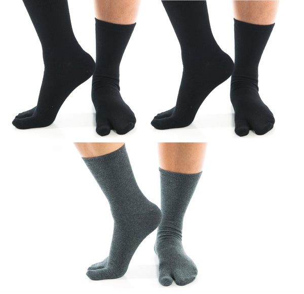 3 Pairs - V-Toe Flip Flop Tabi Socks - 2 Grey Crew, 1 Black Ankle