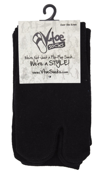 1 Pair - V-Toe Flip Flop Tabi Socks - Over The Knee Black Solid