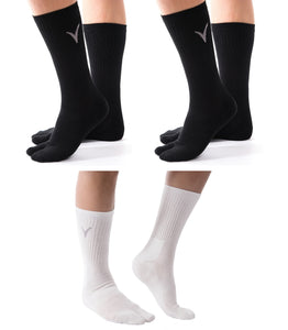3 Pairs V-Toe 2 Black, 1 White Flip-Flop Tabi Big Toe Crew Socks Comfortable Stylish For Men And Women Fun Socks