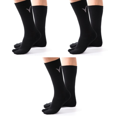 3 Pairs Athletic -  V-Toe Flip Flop Tabi Big Toe Crew Sports Or Casual Black Solid Socks