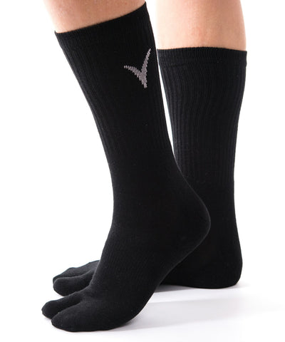 V-Toe Athletic Flip-Flop Tabi Big Toe Crew Socks - Black Solid