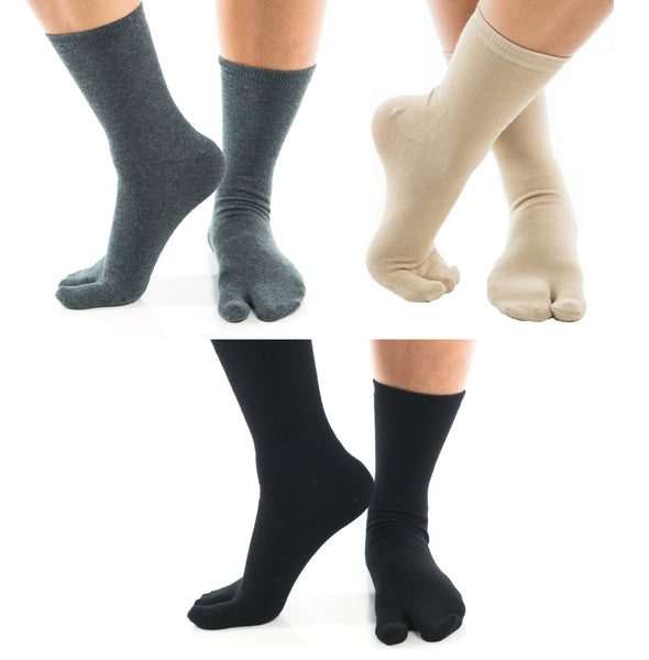 3 Pairs - V-Toe Flip Flop Tabi Socks Black, Khaki and Grey Comfortable Crew Big Toe Socks