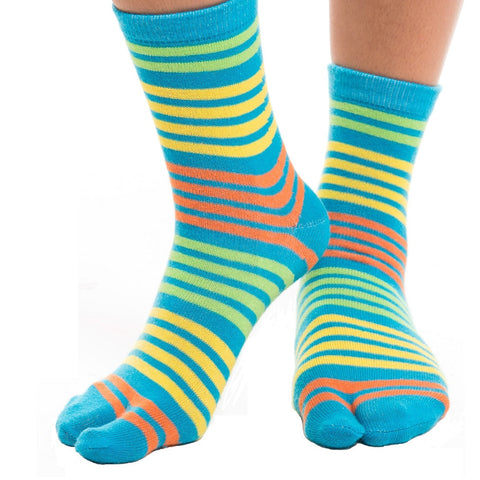 1 Pair - V-Toe Flip Flop Tabi Socks - Blue, Yellow Striped