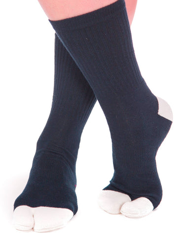 V-Toe Athletic Flip-Flop Tabi Big Toe Crew Socks - Blue White Heel and Toe