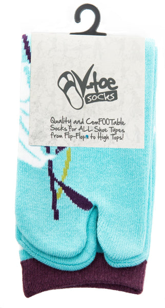 1 Pair - V-Toe Flip Flop Tabi Socks - Blue Hawaiian Flower