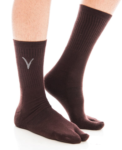 V-Toe Athletic Flip-Flop Tabi Big Toe Crew Socks - Brown
