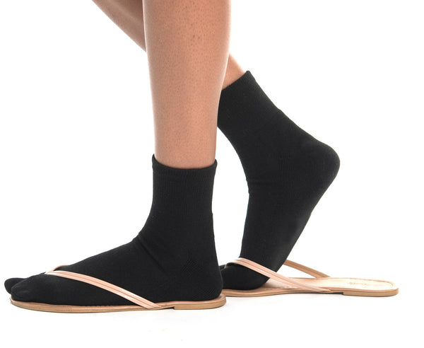 V-Toe Flip-Flop Socks Polyester Brand 3 Pairs Thicker Mini Crew - Black, Brown, Gray Solids