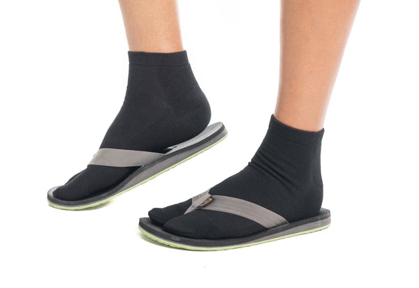 Thicker V-Toe Athletic or Casual Black Flip-Flop Tabi Socks Cotton Blend Comfortable Stylish - Ankle Socks