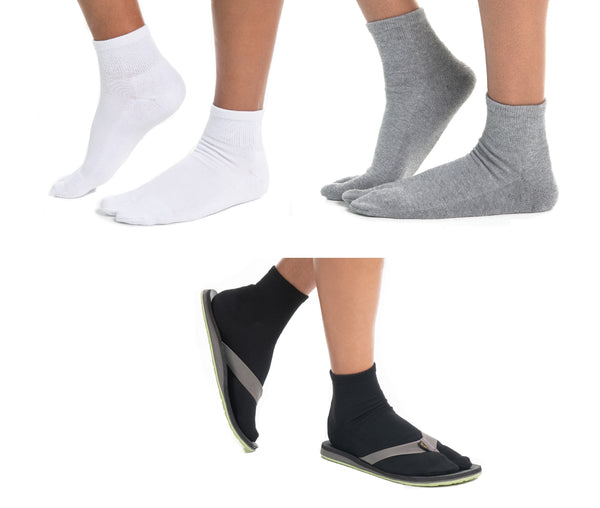 V-Toe Flip-Flop Socks Polyester Brand 3 Pairs Thicker Mini Crew - Black, White, Grey Solids