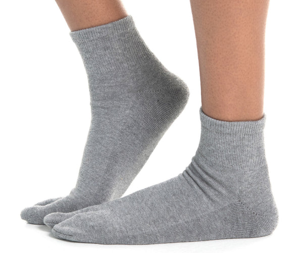 Mini-Crew - V-Toe Thicker Flip-Flop Tabi Socks Athletic or Casual Grey Cotton Blend Comfortable Stylish
