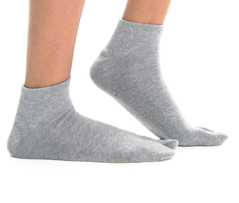 Thicker V-Toe Athletic or Casual Grey Flip-Flop Tabi Socks Cotton Blend Comfortable Stylish - Ankle Socks